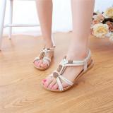 Spesifikasi Musim Datar Sepatu Wanita Sandal Bermanik Manik Buka Flip Flops Sandal Pantai Ujung Dan Harga