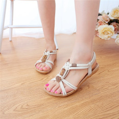 Toko Musim Datar Sepatu Wanita Sandal Bermanik Manik Buka Flip Flops Sandal Pantai Ujung Online Terpercaya