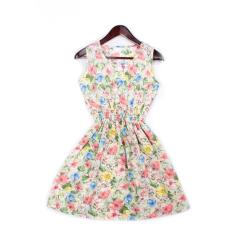 Wanita Musim Panas Bohemian Floral Rompi Tanpa Lengan Dicetak Gaun Pantai untuk Anak Perempuan B020-