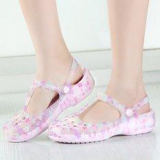 Beli Wanita Musim Panas Mary Jane Gua Kecil Floral Jelly Sandal Pink Intl Baru