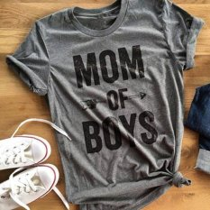 Wanita Musim Panas Mom Of Boys Huruf Arrow Dicetak Crewneck Tee T-Shirt Top-Intl