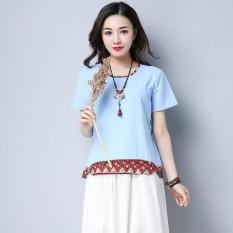 Wanita Musim Panas Angin Nasional Patchwork Quilt Pendek Lengan T-shirt Biru Muda-Internasional