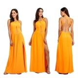 Beli Women Summer Sleeveless Split Party Yellow Maxi Dress Intl Seken