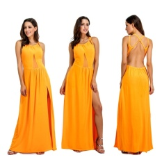 Review Tentang Women Summer Sleeveless Split Party Yellow Maxi Dress Intl