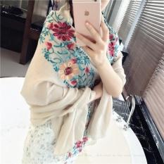 Wanita Musim Panas Sunscreen AC Scarf Selendang Linen Cotton Bordir Bunga Gaya Nasional Warna Syal Multifungsi Syal Beige-Intl