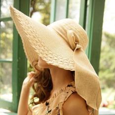 Topi Matahari Wanita Topi Jerami Fashion Korea Style Sun Hat Ikatan Simpul Musim Panas Di Sepanjang Pantai Sun Hat-Intl