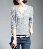 Toko Sweater Wanita Dan Pullover Lepas Loose Thin Batwing Lengan V Neck Musim Semi Musim Gugur Rajutan Sweater Pull Femme Abu Abu Muda Internasional Yang Bisa Kredit