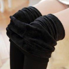Spesifikasi Wanita Thermal Fleece Hangat Tebal Berjajar Bulu Winter Ketat Pensil Legging Celana Hitam Murah