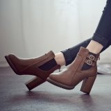 Ulasan Tentang Wanita Hak Tinggi Double Tekuk Elastis Tebal Keadaannya Pos Martins Sepatu Bot Sepatu Fashion Wanita