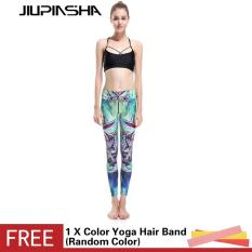 Women Tights Yoga Pants Green Dragonfly Digital Printing Gym Sports Trousers Running Compression Workout Training Leggings - intl