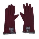 Harga Wanita Touch Layar Mittens Domba Wol Ikatan Simpul Winter Glove Burgundy Intl Online Tiongkok
