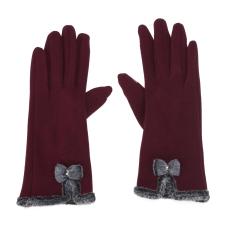 Toko Wanita Touch Layar Mittens Domba Wol Ikatan Simpul Winter Glove Burgundy Intl Di Tiongkok