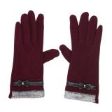 Diskon Wanita Touch Layar Mittens Domba Wol Ikatan Simpul Winter Glove Burgundy Intl