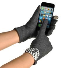 Perempuan Menyentuh Layar Hangat Musim Dingin Pergelangan Tangan Sarung Tangan Sarung Tangan Gray-Intl