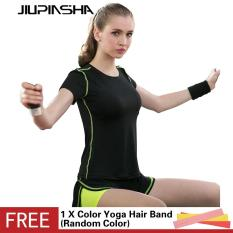 Wanita Training Yoga Set Striped Jahitan Kemeja Kebugaran + Palsu Dua Potong Shorts Workout Gym Olahraga Menjalankan Breathable Slim Suit -Intl