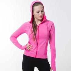Toko Wanita Ultra Ringan Ritsleting Jaket Olahraga Jaket Berkerudung Berlari Bernapas Cepat Kering Lengan Panjang Saku Pusat Sweatshirt Pakaian Murah Tiongkok
