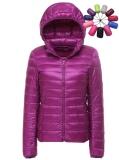 Wanita Ultra Ringan Pendek Jaket Packable Hooded Puffer Down Mantel Pakaian Bersepeda Internasional Original