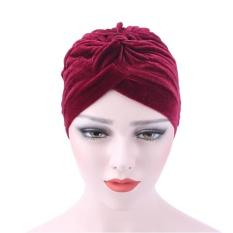Hayleystore Wanita Velvet Muslim Ruffle Hat Beanie Scarf Serban Kepala  Membungkus Cap KAMI-Intl ec5dd613e1