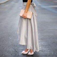 Wanita Vintage Stretch Satin HighWaist Skater Berkobar Pleated Long Skirt Dress-Intl