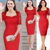 Beli Vintage Gaya Elegan Wanita Renda Bodycon Gaun Malam Gaun Pesta Dress Pensil Merah International Murah Tiongkok