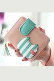 Beli Women Wallet Tassels Zipper Puller Cute Cat Head Stripe Lady Purse Coin Bag Mini Wallet Pink Cicilan