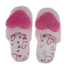 Wanita Hangat Kamar Tidur Rumah Sandal Lovely Heart Non-slip Sandal Lembut Dalam Rose Red US Ukuran 7-Intl