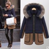Spesifikasi Wanita Hangat Down Parka Musim Dingin Long Coat Jaket Mantel Fashion Hooded Mantel Tebal Jaket Biru Tua Internasional Yg Baik