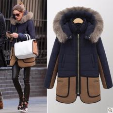 Toko Wanita Hangat Down Parka Musim Dingin Long Coat Jaket Mantel Fashion Hooded Mantel Tebal Jaket Biru Tua Internasional Oem
