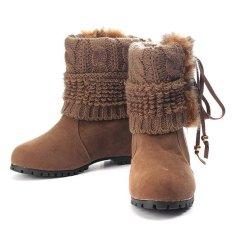 Spesifikasi Women Warm Winter Faux Fur Tassel Wedge Heel Snow Boots Lady Suede Winter Shoes Khaki Intl Lengkap
