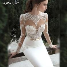 Harga Termurah Wanita Putih Panjang Ketat Prom Malam Partai Bridesmaid Pernikahan Maxi Gaun Putih
