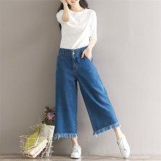 Beli Wanita Wide Leg Jeans Loose Cropped Jeans Vintage Wide Leg Kaki Wanita Harlan Sembilan Celana Ketujuh Jeans Burr Manset Celana Intl Cicilan