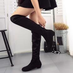 Wanita Musim Dingin Musim Gugur Flat Boots Sepatu Tinggi Kaki Suede Pendek Long Boots BK/35