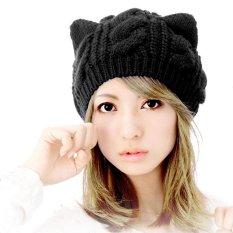 Woen Topi Musim Dingin Beanie DEVIL Horns Cat Ear Crochet Dikepang Knit Black