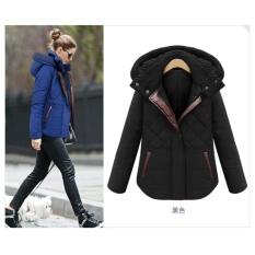 Wanita Musim Dingin Jaket Slim Ladies Coat Thicken Parka Down Cotton Berkerudung Pakaian-Hitam-Intl