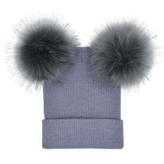 Wanita Musim Dingin Hangat Merenda Merajut Ganda Tiruan Bulu Pom Pom Beanie Topi Tutup-Internasional