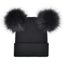 Wanita Musim Dingin Hangat Crochet Merajut Double Faux Fur Pom Pom Beanie Hat Cap-Intl