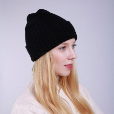 Wanita Musim Dingin Hangat Lipat Rajutan Topi Rajut Outdoor Tengkorak Beanie (Hitam)-Intl