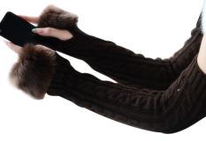 Wanita Musim Dingin Hangat Dirajut Sarung Faux Bulu Lengan Sarung Tangan Sarung Tangan Panjang Kopi-Intl