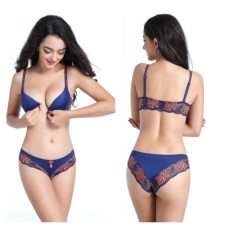 Obral Women Y Line Strap Bra Brief Set Underwired Front Closure Push Up Lace Back H126 Blue Intl Murah