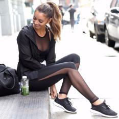 Ulasan Wanita Yoga Kompresi Legging Wanita Olahraga Gym Tinggi Pinggang Celana Ketat Olahraga Fitness Slim Mesh Yoga Celana Hitam Intl