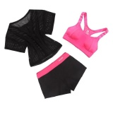 Wanita Yoga Fitness Sports 3 Pcs Set Menjalankan Gym Mesh Elastis Top Patchwork Pendek Pad Bra Pelatihan Suit Latihan Pakaian Set Tiongkok