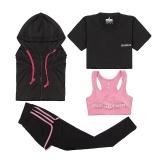 Perbandingan Harga Wanita Yoga Menjalankan Olahraga Suit Cepat Kering T Shirt Coat Dicetak Bra Fake Two Piece Pant 4 Pcs Suit Pink Sportswear Pakaian Intl Di Tiongkok