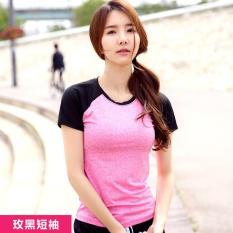 Wanita Yoga Kemeja Pendek Berlengan Latihan Pakaian Wanita T-shirt Jaket Slim Cepat Kering Menjalankan Kebugaran T-shirt Hot Pink dengan Hitam -Intl