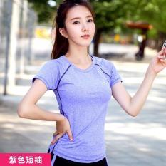 Wanita Yoga Kemeja Pendek Berlengan Latihan Pakaian Wanita T-shirt Jaket Slim Cepat Kering Menjalankan Kebugaran T-shirt Ungu-Intl