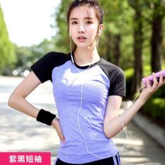 Wanita Yoga Kemeja Pendek Berlengan Latihan Pakaian Wanita T-shirt Jaket Slim Cepat Kering Menjalankan Kebugaran T-shirt Ungu dengan Black- INTL