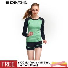 Kemeja Lengan Panjang Wanita Yoga Latihan Kompresi Bernapas Celana Ketat Latihan Kebugaran Cepat Pengeringan T-Shirt-Nya - International