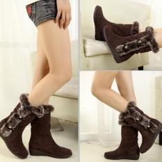Spesifikasi Wanita Sepatu Bot Musim Dingin Boots Hangat Pertengahan Betis Boots Hangat Winter Shoes Intl Terbaik