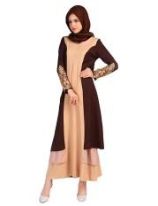Blok Warna Wanita Renda Penyambungan Islam Abaya Jilbab Lengan Panjang Muslim Gaun Warna: Ukuran Warna Kopi: M LUCKY-G-Internasional