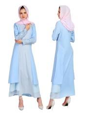 Blok Warna Wanita Renda Penyambungan Islam Abaya Jilbab Lengan Panjang Muslim Gaun Warna: Biru Muda Ukuran: L LUCKY-G-Internasional