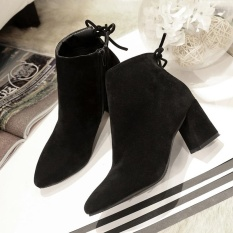 Wanita BOOT BOOT # Ibu Musim Gugur Velvet Pertengahan Tinggi Tumit Blok Tumit Menunjuk Toe Martin Boots Ankle Boots Warna Pendek Hitam -Intl